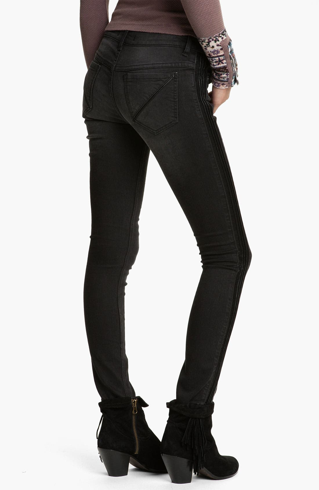 Alternate Image 2  - Free People Faux Leather Trim Skinny Jeans (Abyss)