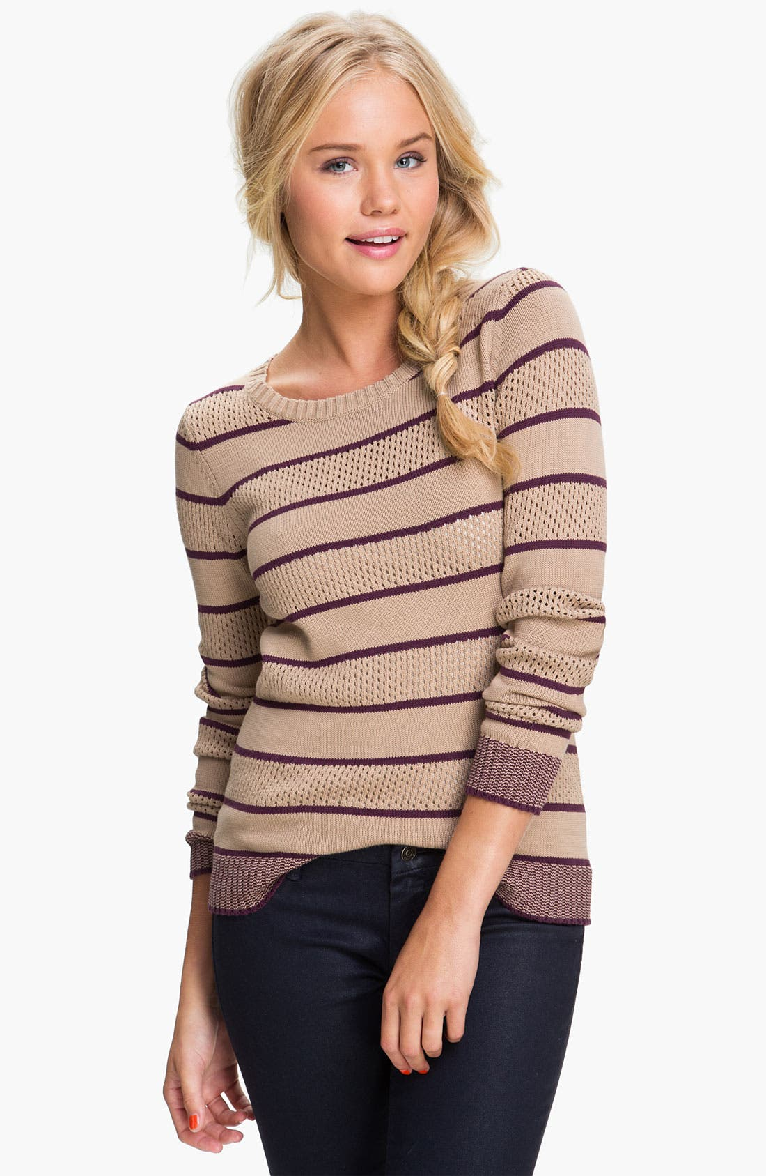 Alternate Image 1 Selected - BP. Stripe Pointelle Sweater (Juniors)