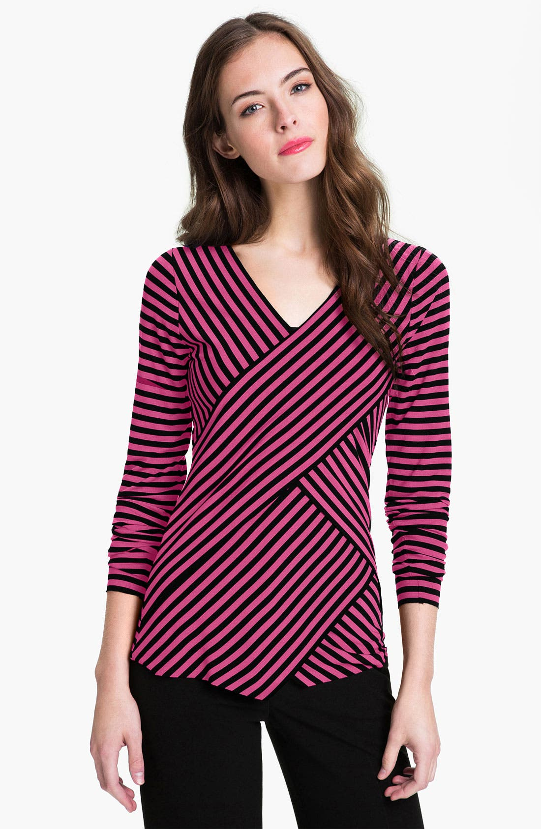 Alternate Image 1 Selected - Vince Camuto Zigzag Panel Stripe Top