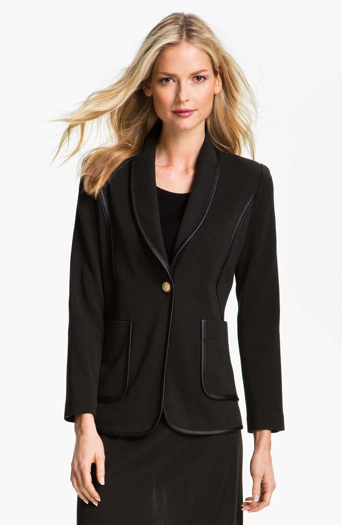 Alternate Image 1 Selected - Exclusively Misook Faux Leather Trim Blazer