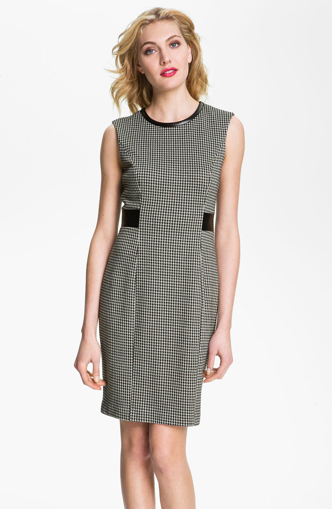 Alternate Image 1 Selected - Calvin Klein Sleeveless Houndstooth Sheath Dress
