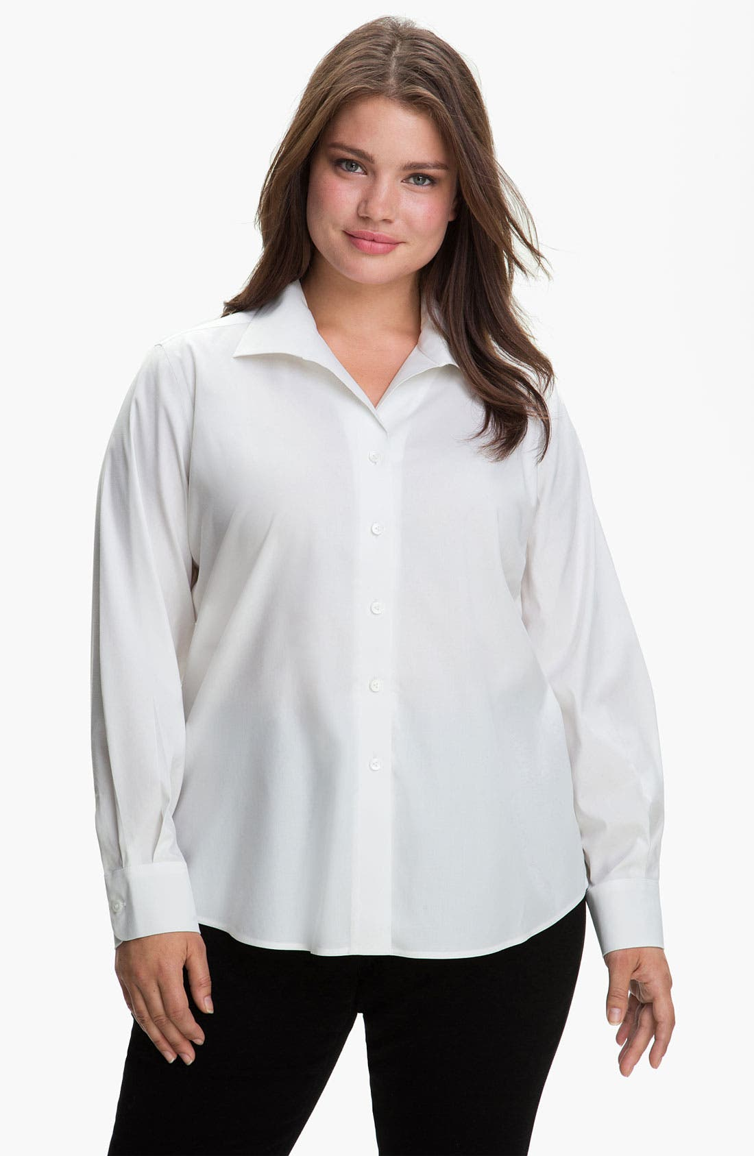 Main Image - Foxcroft Wing Collar Shaped Shirt (Plus)