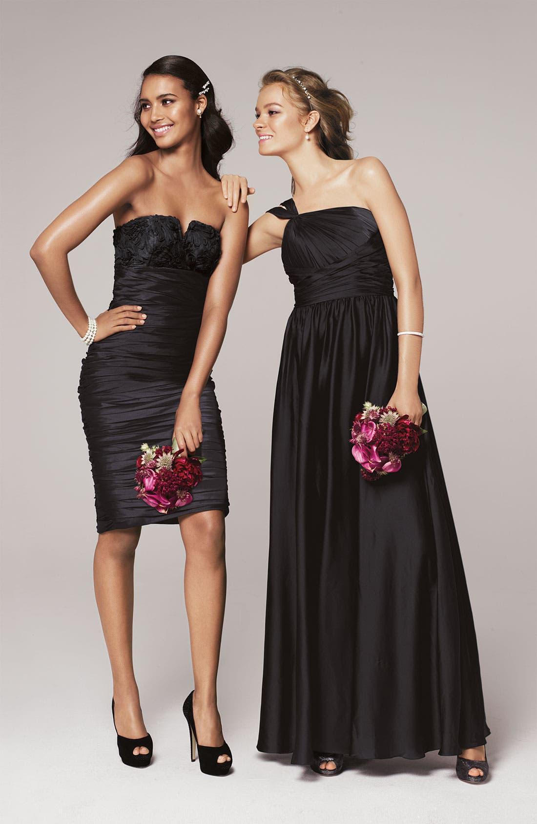 Alternate Image 6  - Monique Lhuillier Bridesmaids Twist Shoulder Satin Chiffon Gown (Nordstrom Exclusive)