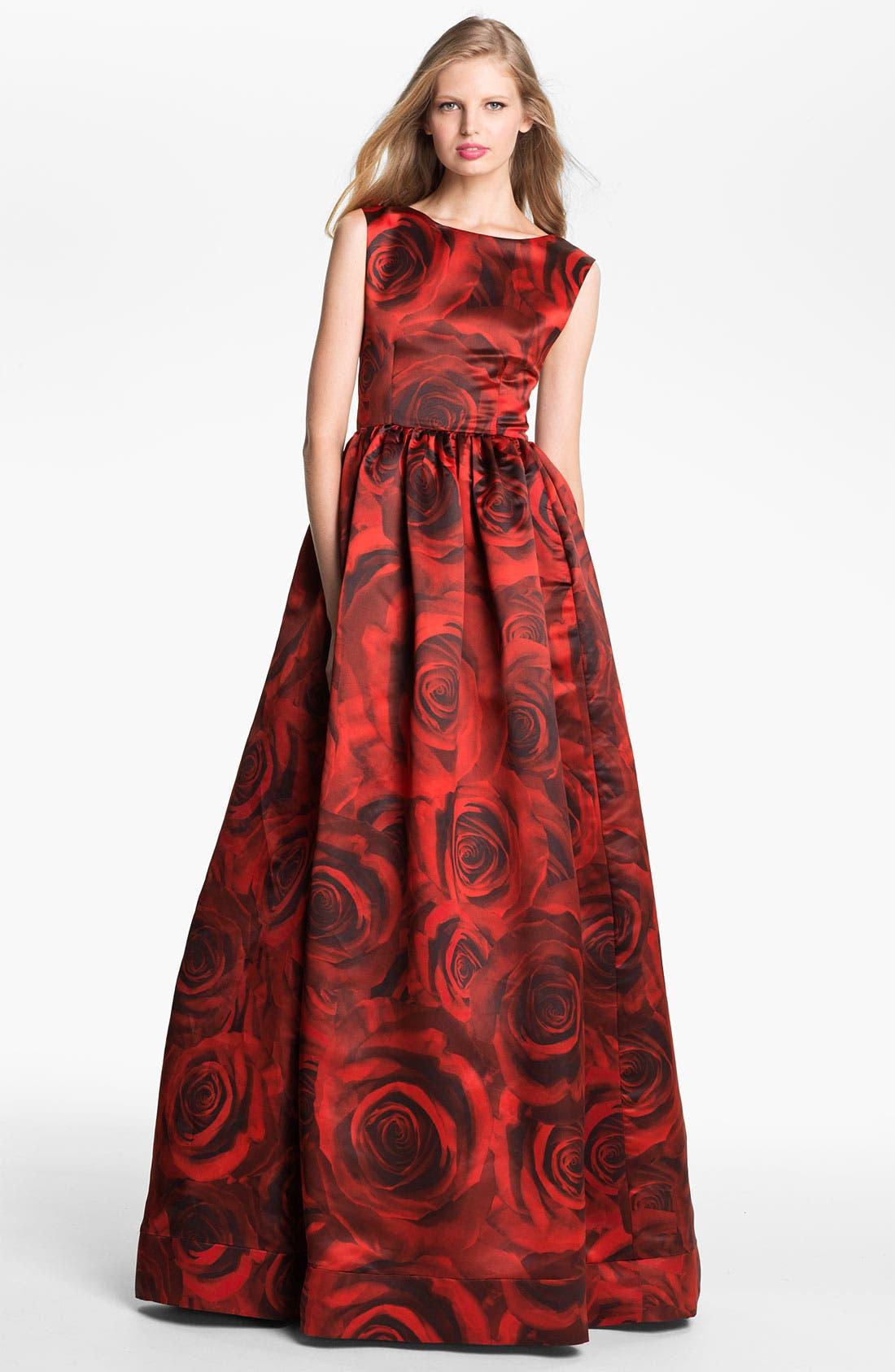 Main Image - Alice + Olivia 'Lano' Rose Print Ballgown