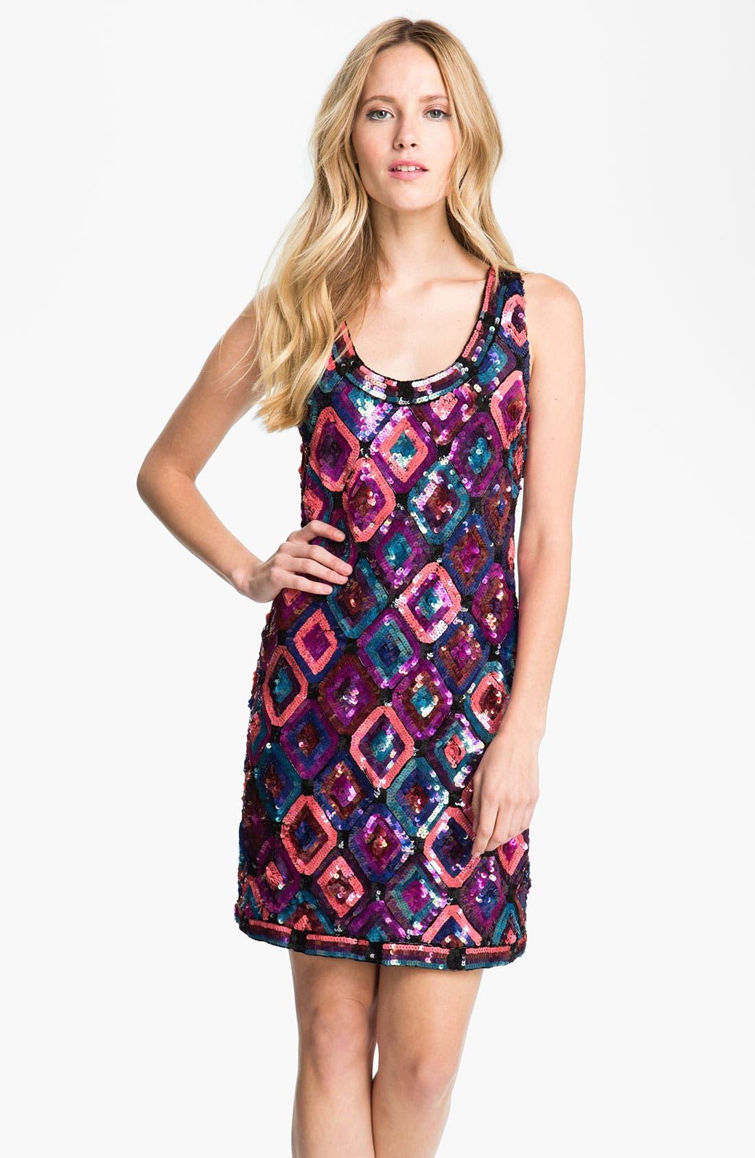 Main Image - Trina Turk Sequin Diamond Shift Dress