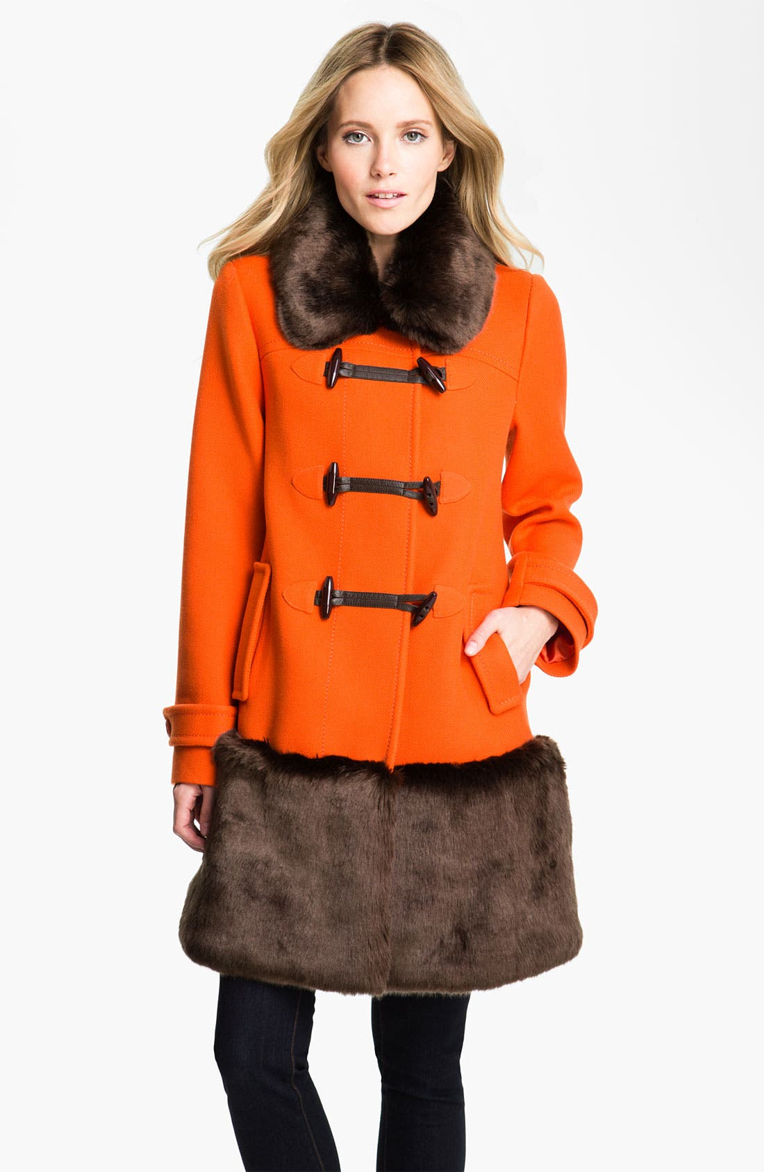 Main Image - kate spade new york 'allie' faux fur & wool coat