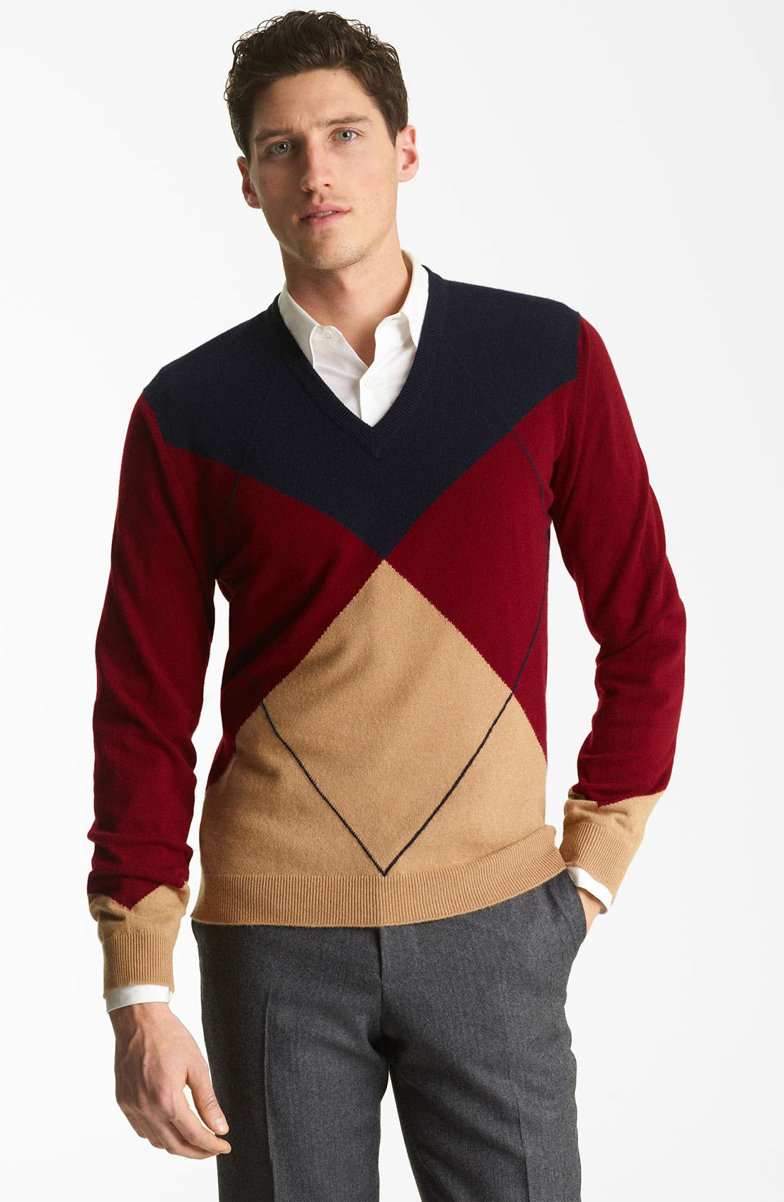 Alternate Image 1 Selected - Pringle of Scotland Argyle V-Neck Cashmere Sweater