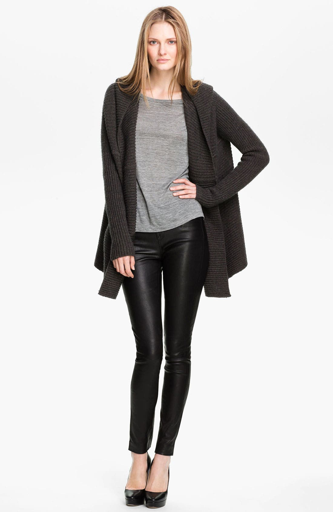 Main Image - Vince Hooded Ribbed Cardigan