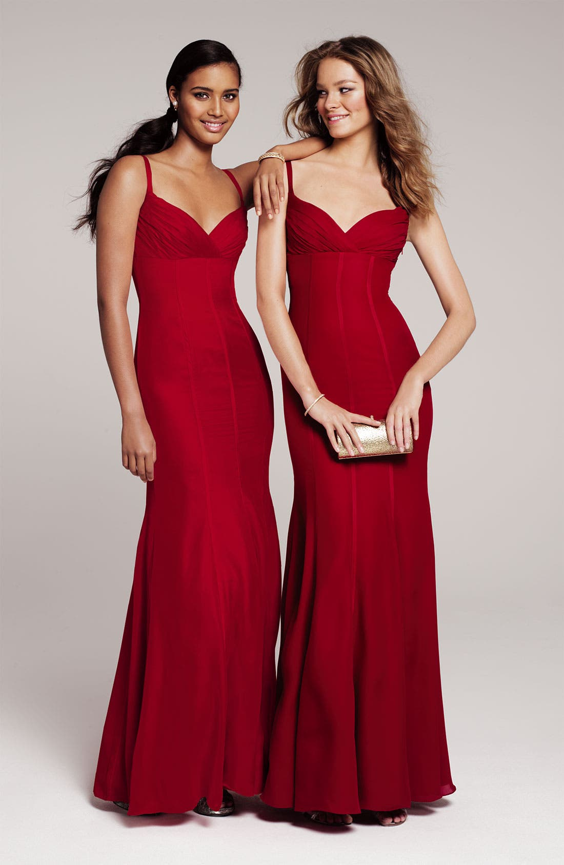 Alternate Image 4  - ML Monique Lhuillier Bridesmaids Satin Trim Surplice Gown (Nordstrom Exclusive)