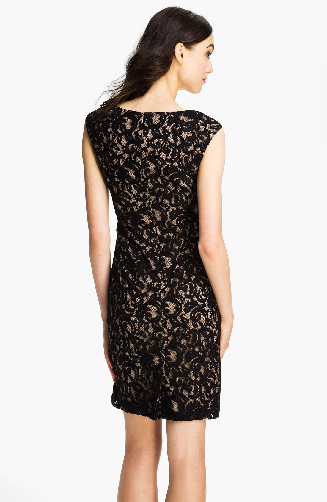 Alternate Image 2  - Adrianna Papell Embroidered Lace Overlay Sheath Dress (Regular & Petite)