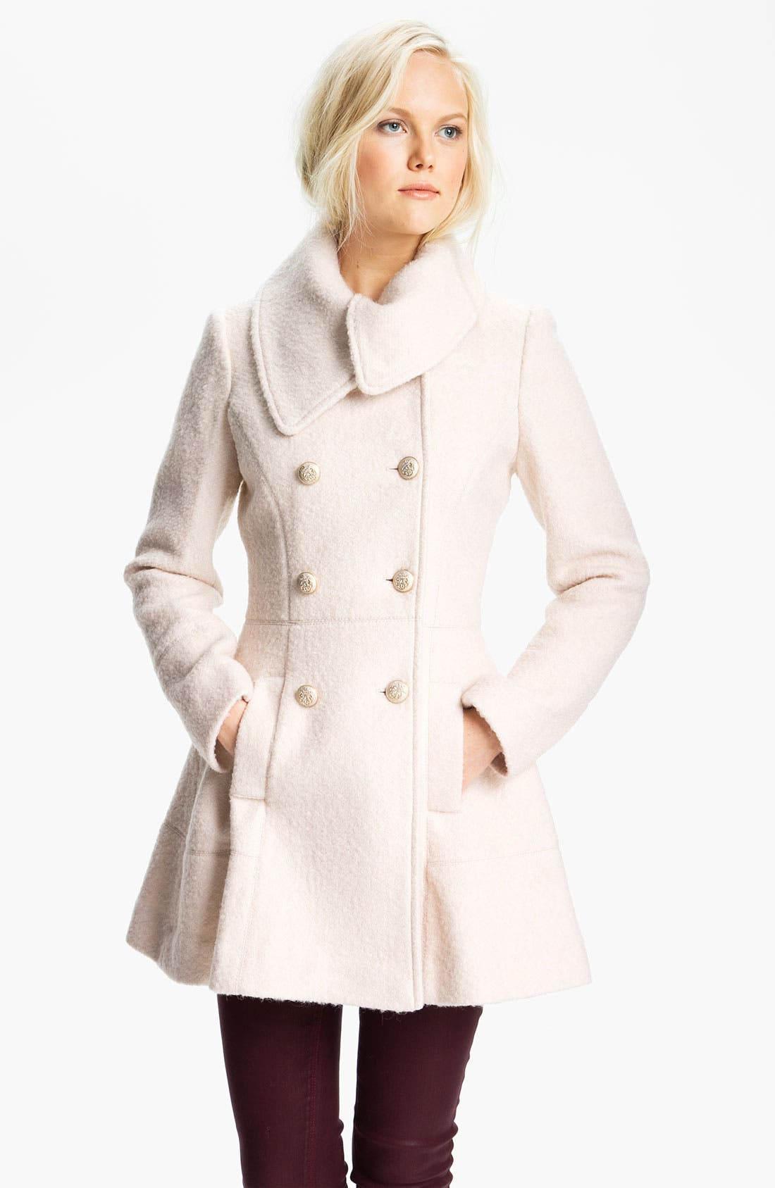 Main Image - GUESS Asymmetrical Collar Bouclé Coat (Online Exclusive)
