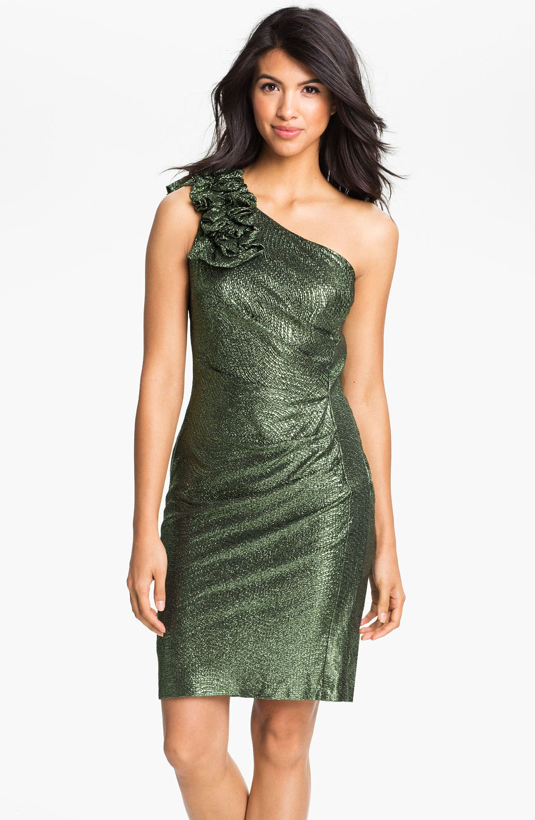 Main Image - Hailey by Adrianna Papell Metallic One Shoulder Sheath Dress
