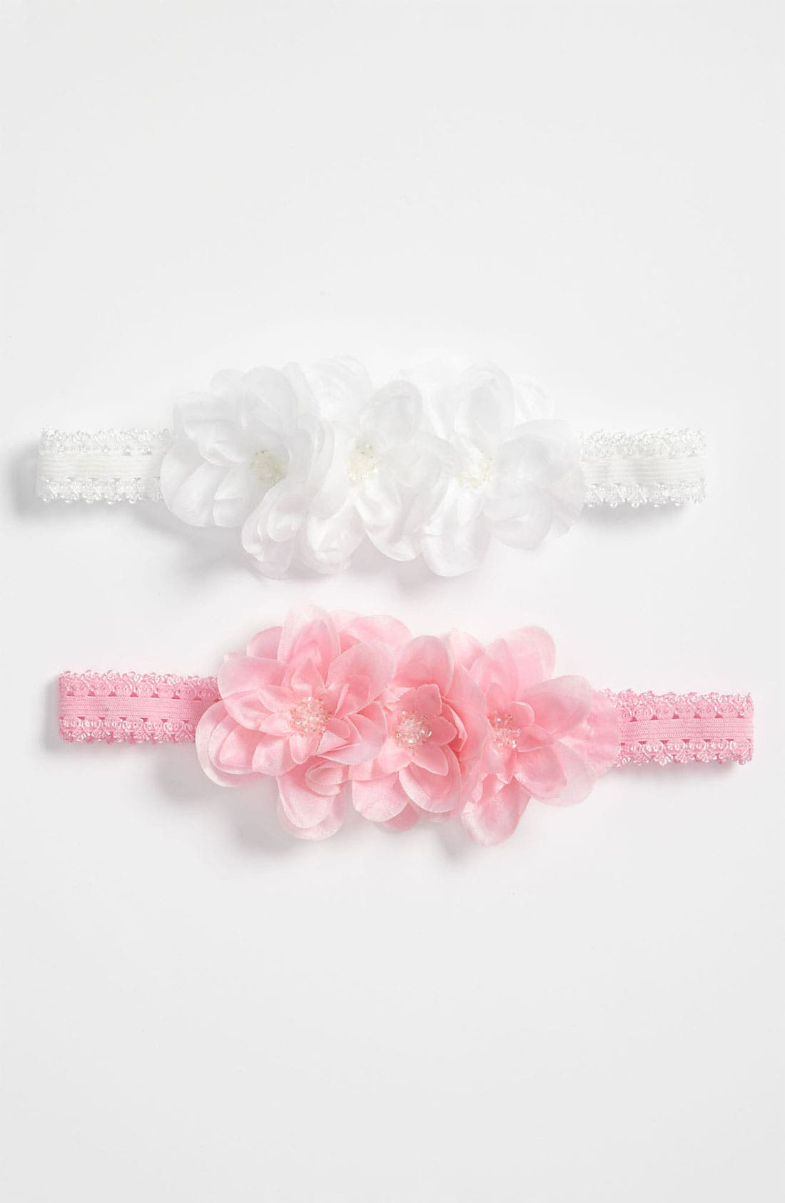 Alternate Image 1 Selected - PLH Bows & Laces Flower Headband (Set of 2) (Baby & Toddler)