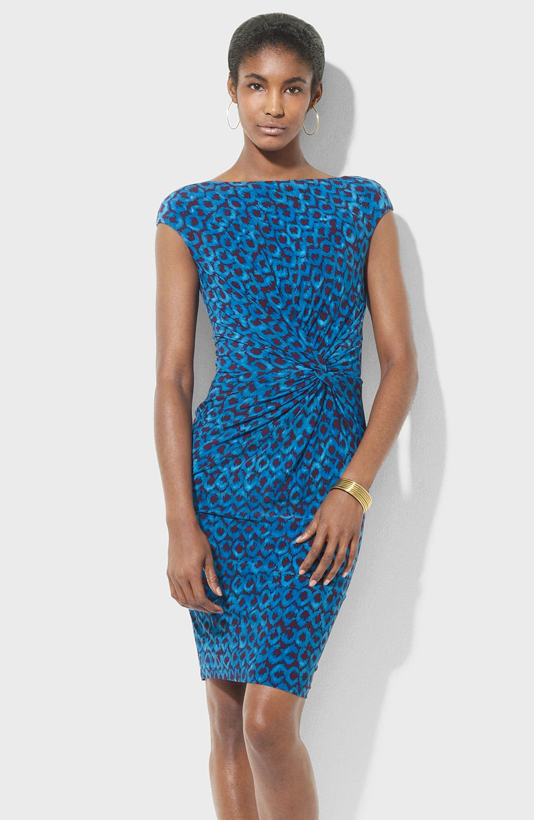 Main Image - Lauren Ralph Lauren Twist Front Print Jersey Sheath Dress