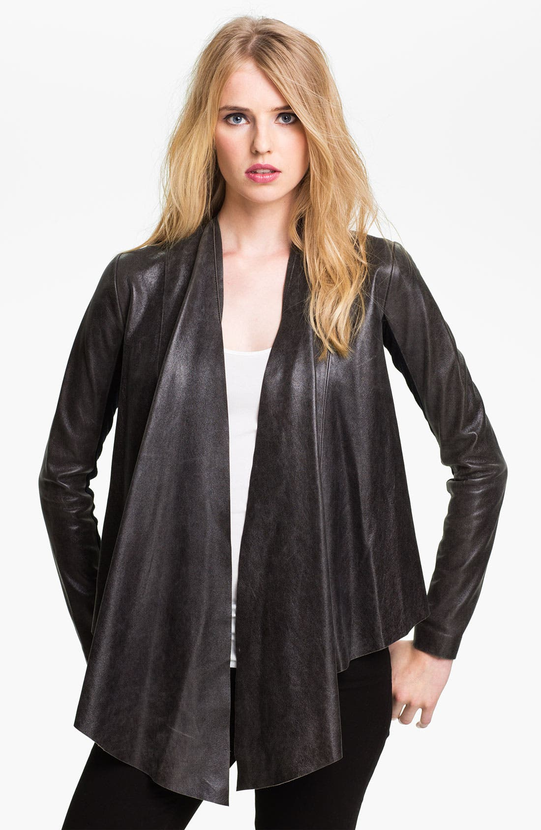 Main Image - Veda 'Libra' Drape Front Leather Jacket