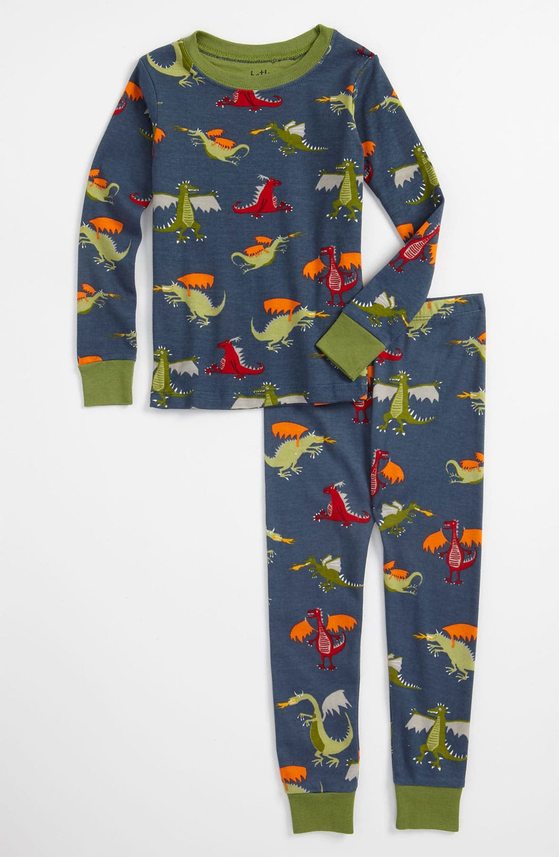 Main Image - Hatley 'Dragons' Fitted Two Piece Pajamas (Toddler)