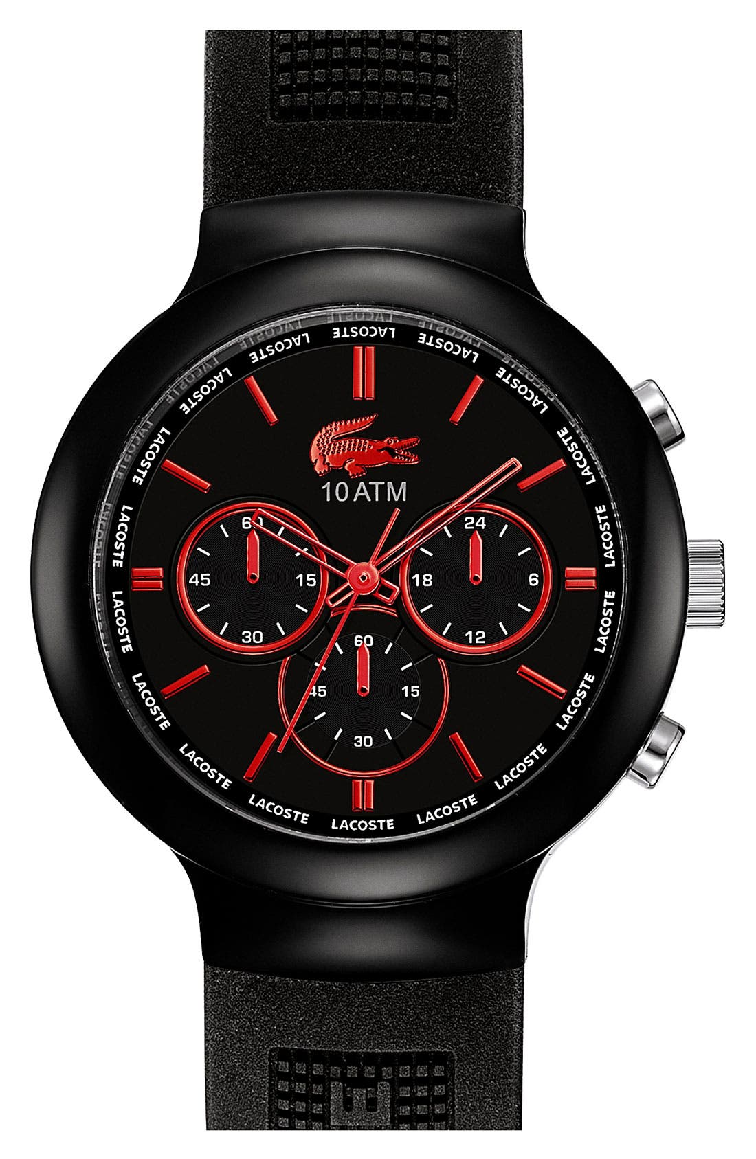 Alternate Image 1 Selected - Lacoste 'Boreno' Chronograph Silicone Strap Watch, 44mm