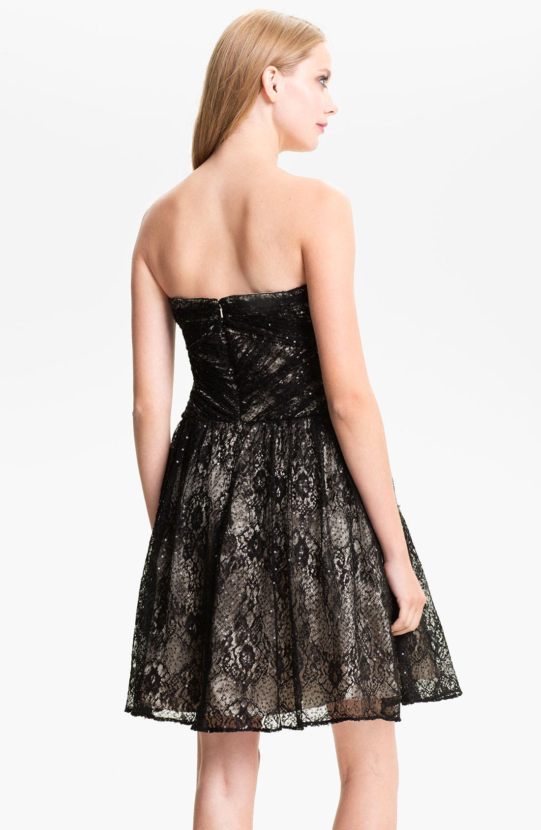Alternate Image 2  - Hailey by Adrianna Papell Sequin Lace Sweetheart Dress