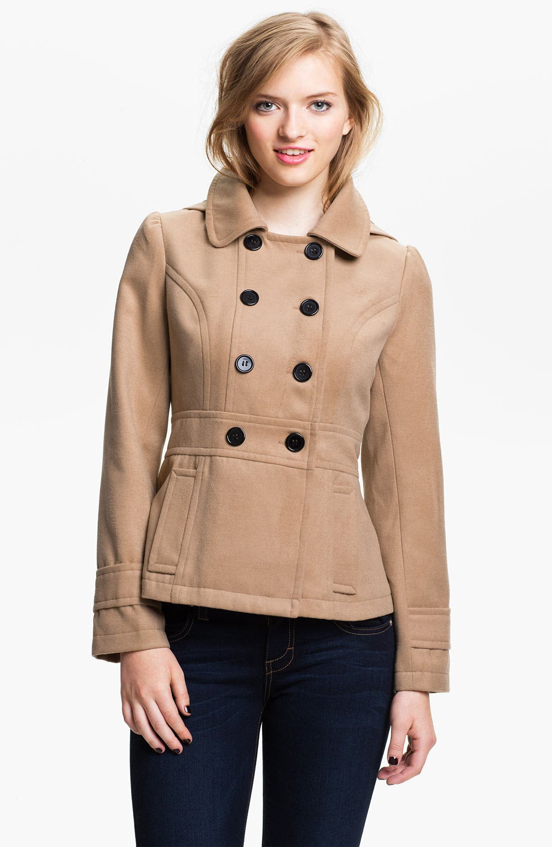 Main Image - Tulle Hooded Peacoat (Juniors)