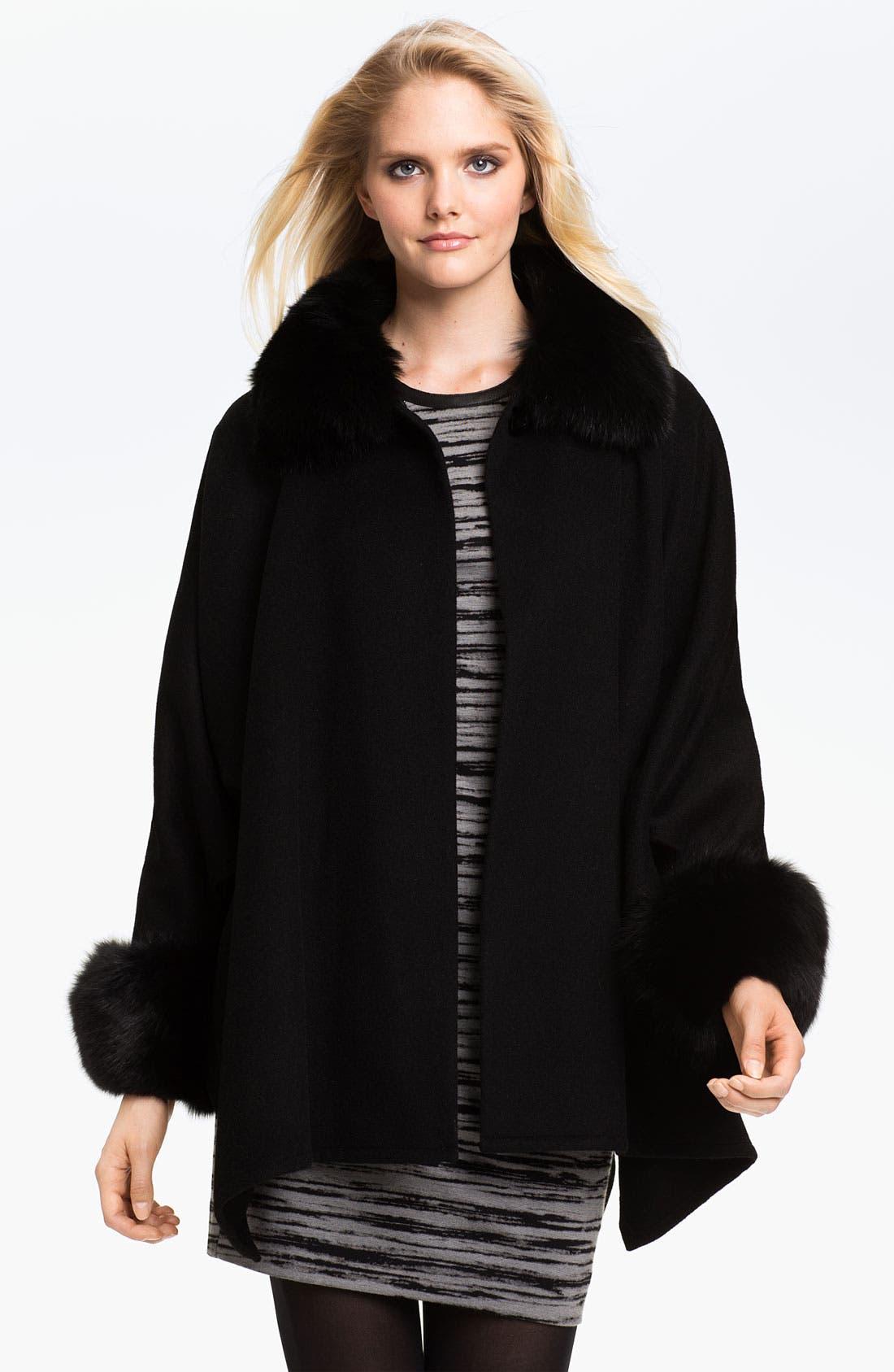 Alternate Image 1 Selected - Alberto Makali Fox Fur Trim Wool Cape