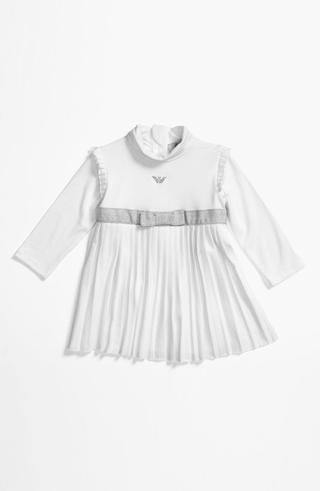 Main Image - Armani Junior Pleated Dress (Infant)