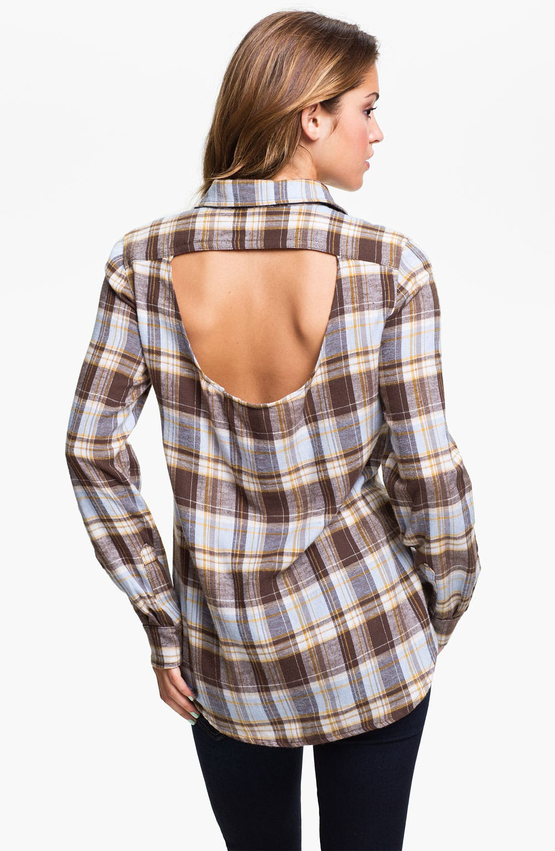 Alternate Image 2  - Mimi Chica Mixed Plaid Cutout Back Shirt (Juniors)