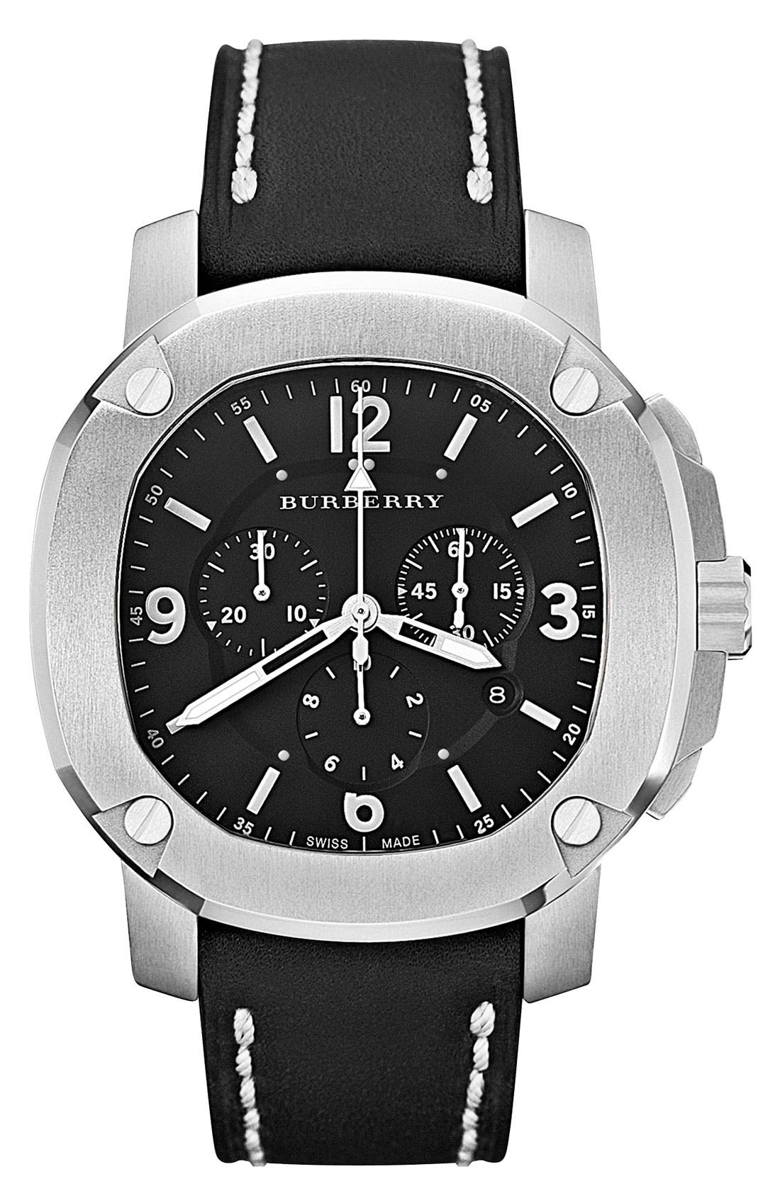 Main Image - Burberry The Britain Chronograph Leather Strap Watch