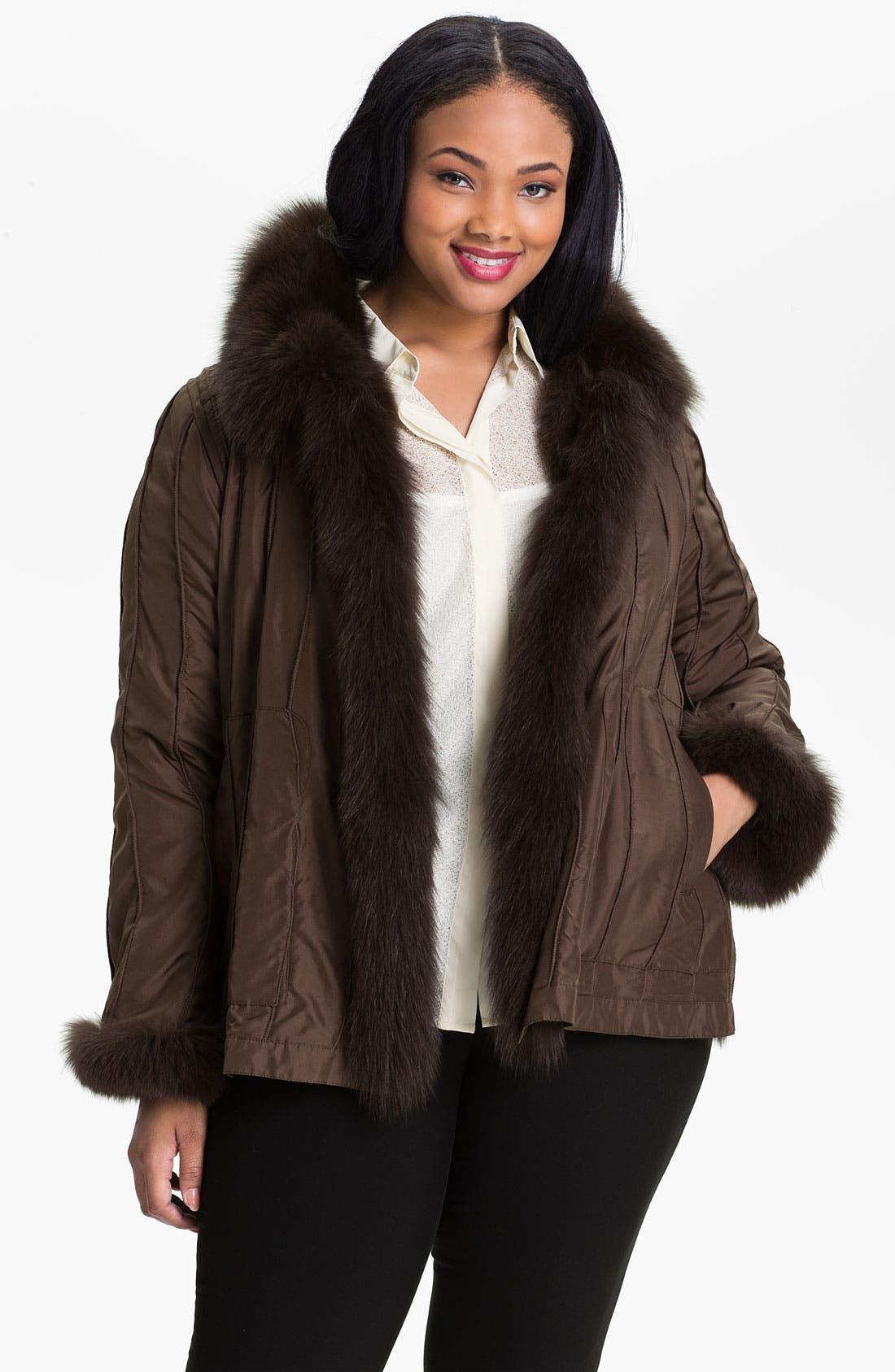 Alternate Image 3  - George Simonton Couture Reversible Genuine Fox Fur & Silk Coat (Plus)