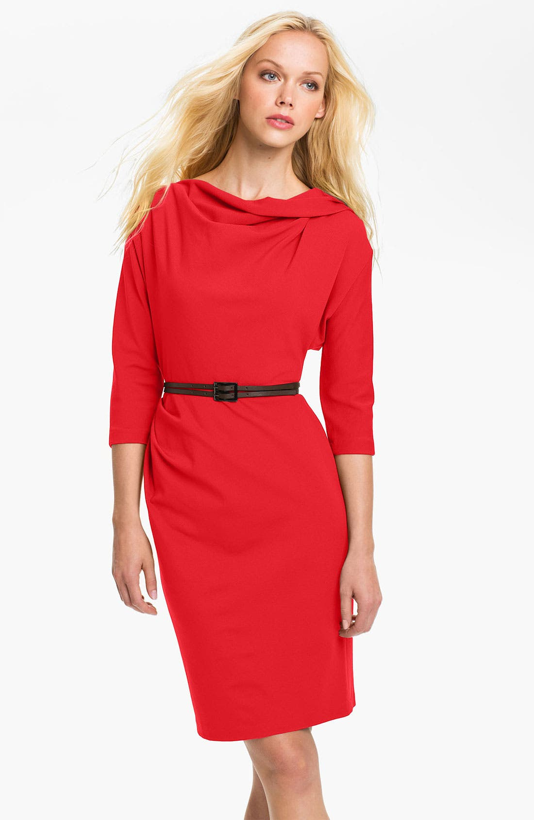 Main Image - Suzi Chin for Maggy Boutique Belted Dolman Sleeve Sheath Dress
