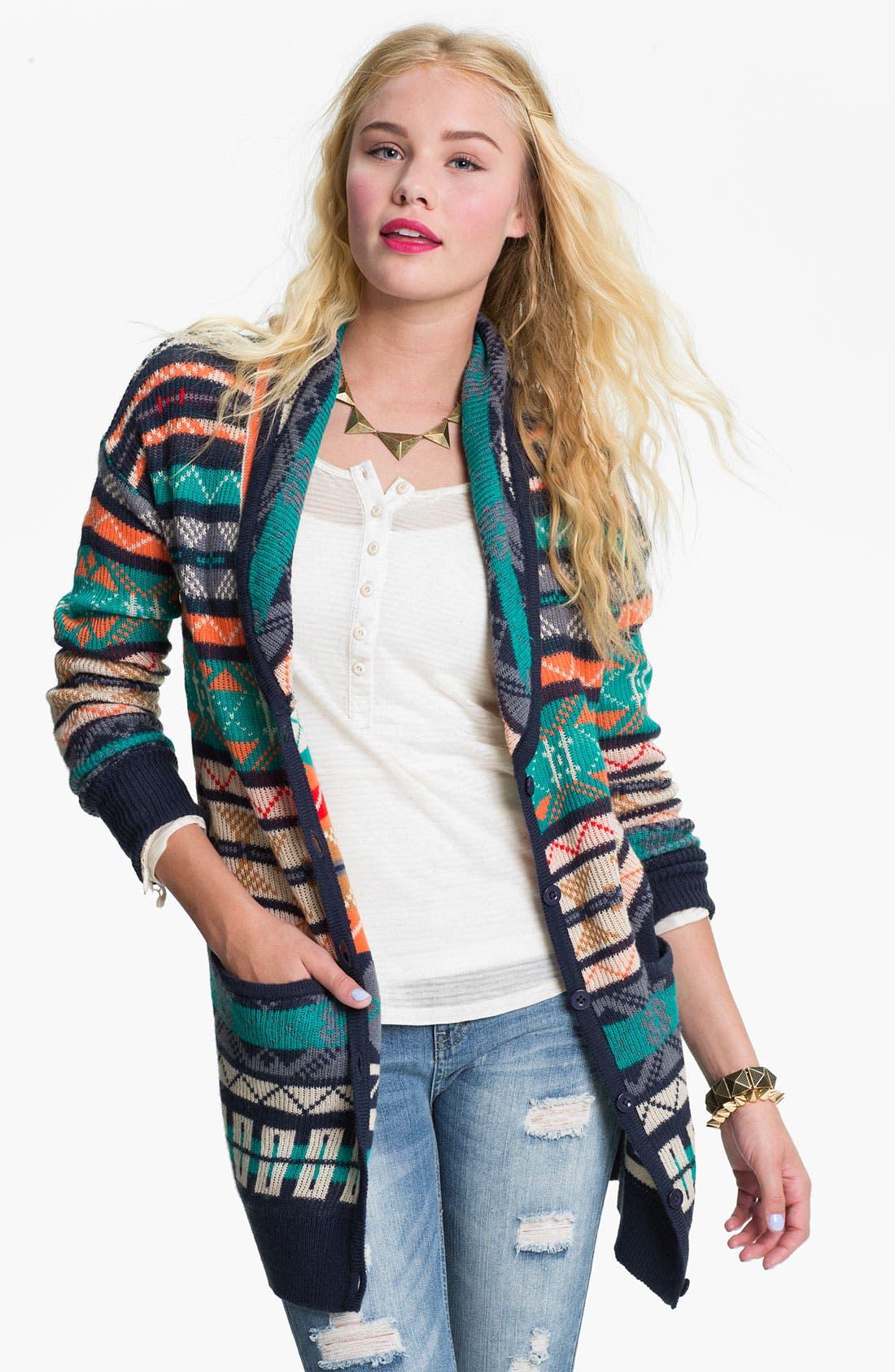 Alternate Image 1 Selected - Rubbish® Nordic Knit Cardigan (Juniors)