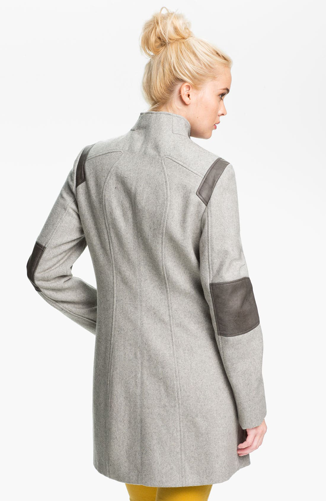 Alternate Image 2  - Calvin Klein Faux Leather Trim Walking Coat