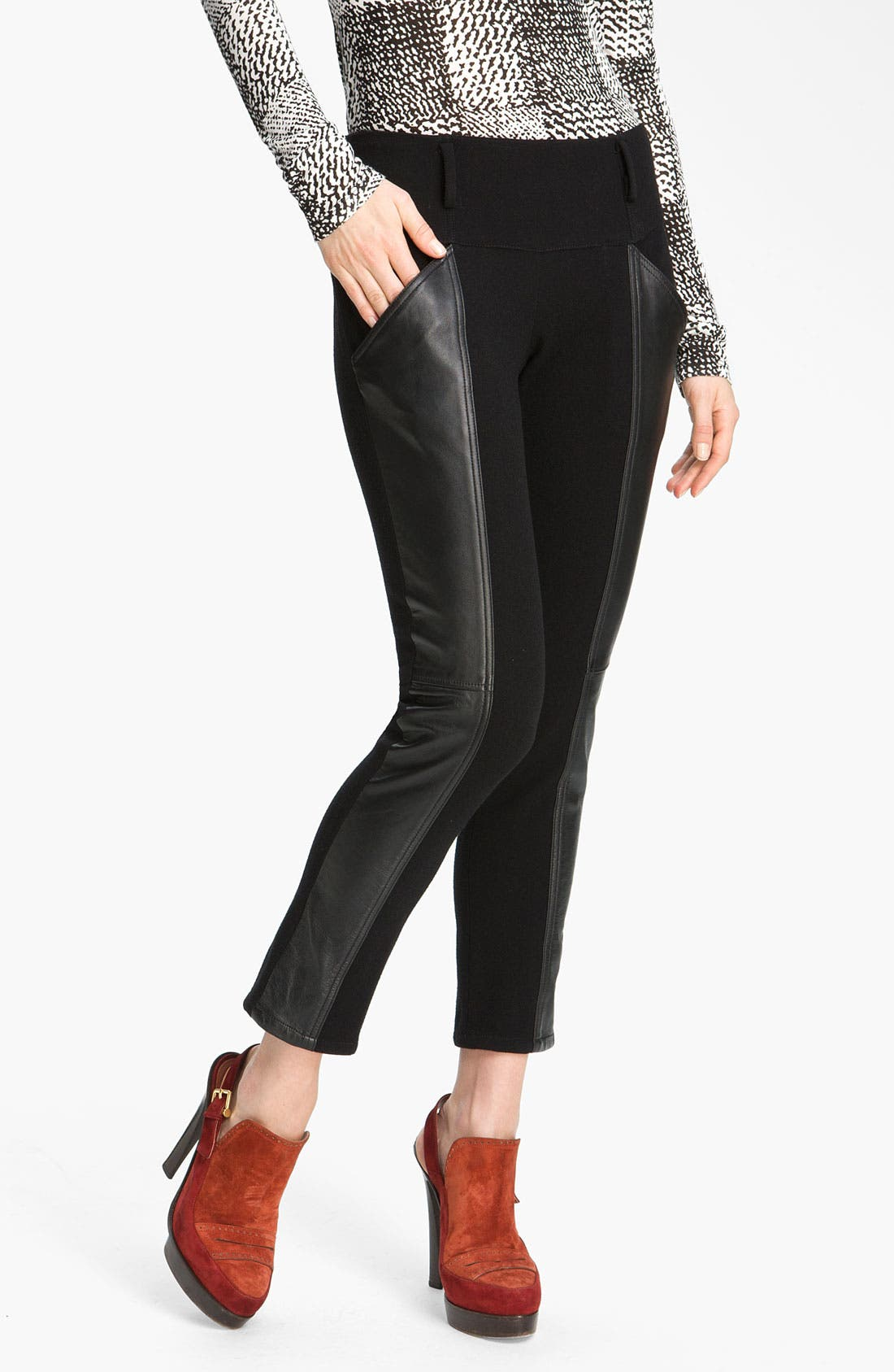 Main Image - Derek Lam 10 Crosby Leather Panel Ankle Pants