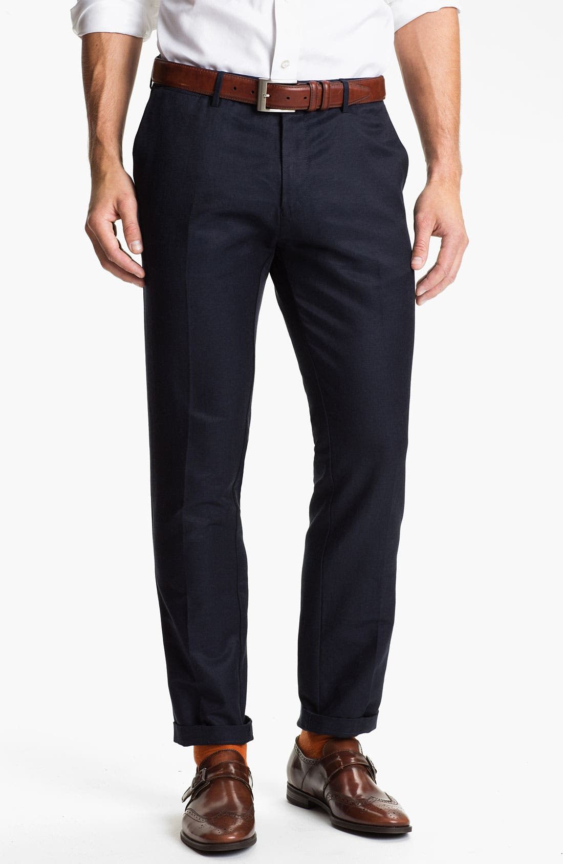 Main Image - BOSS Black 'Caleb' Flat Front Silk Blend Pants (Online Only)