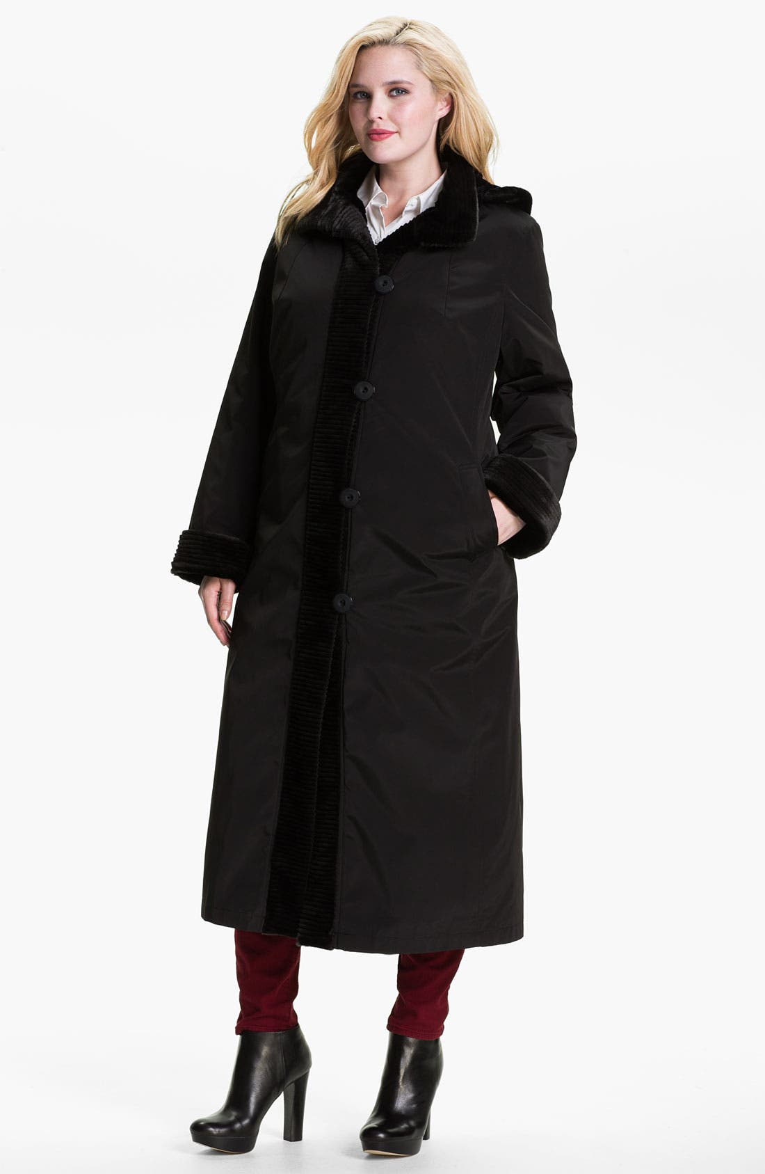 Main Image - Gallery Long Storm Coat with Faux Fur Lining (Plus)
