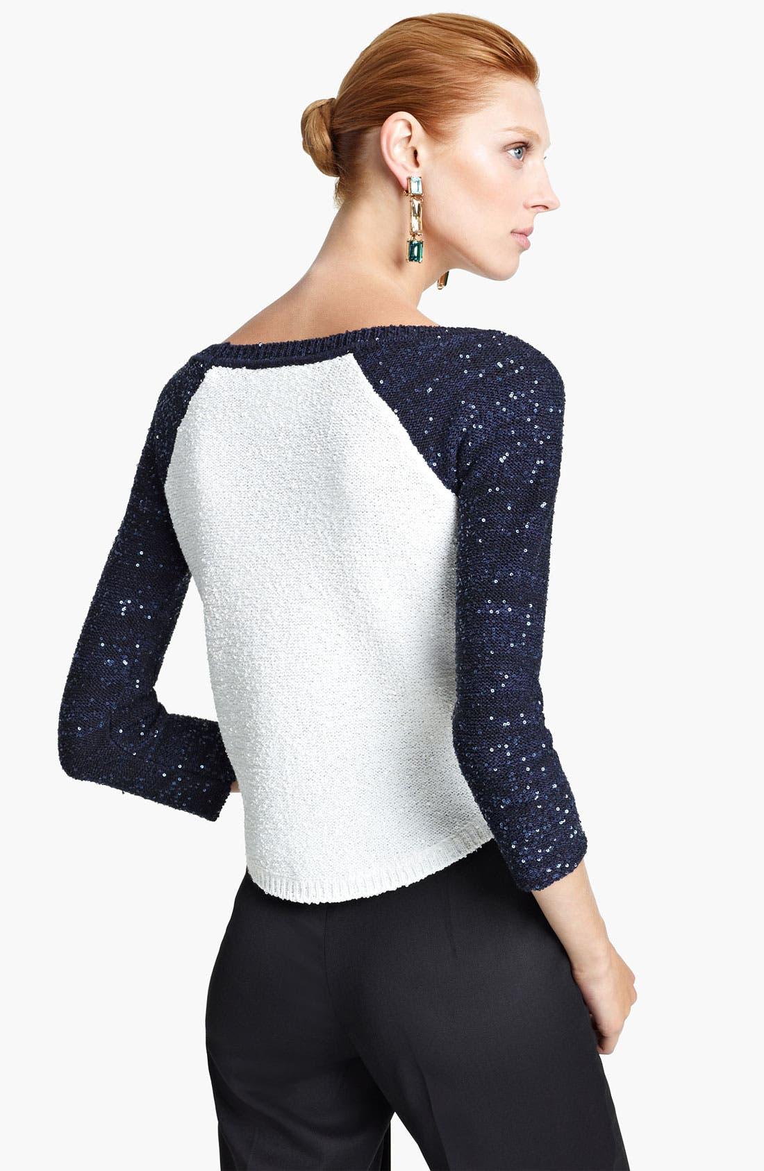 Alternate Image 2  - Oscar de la Renta Sequin Sleeve Bicolor Pullover