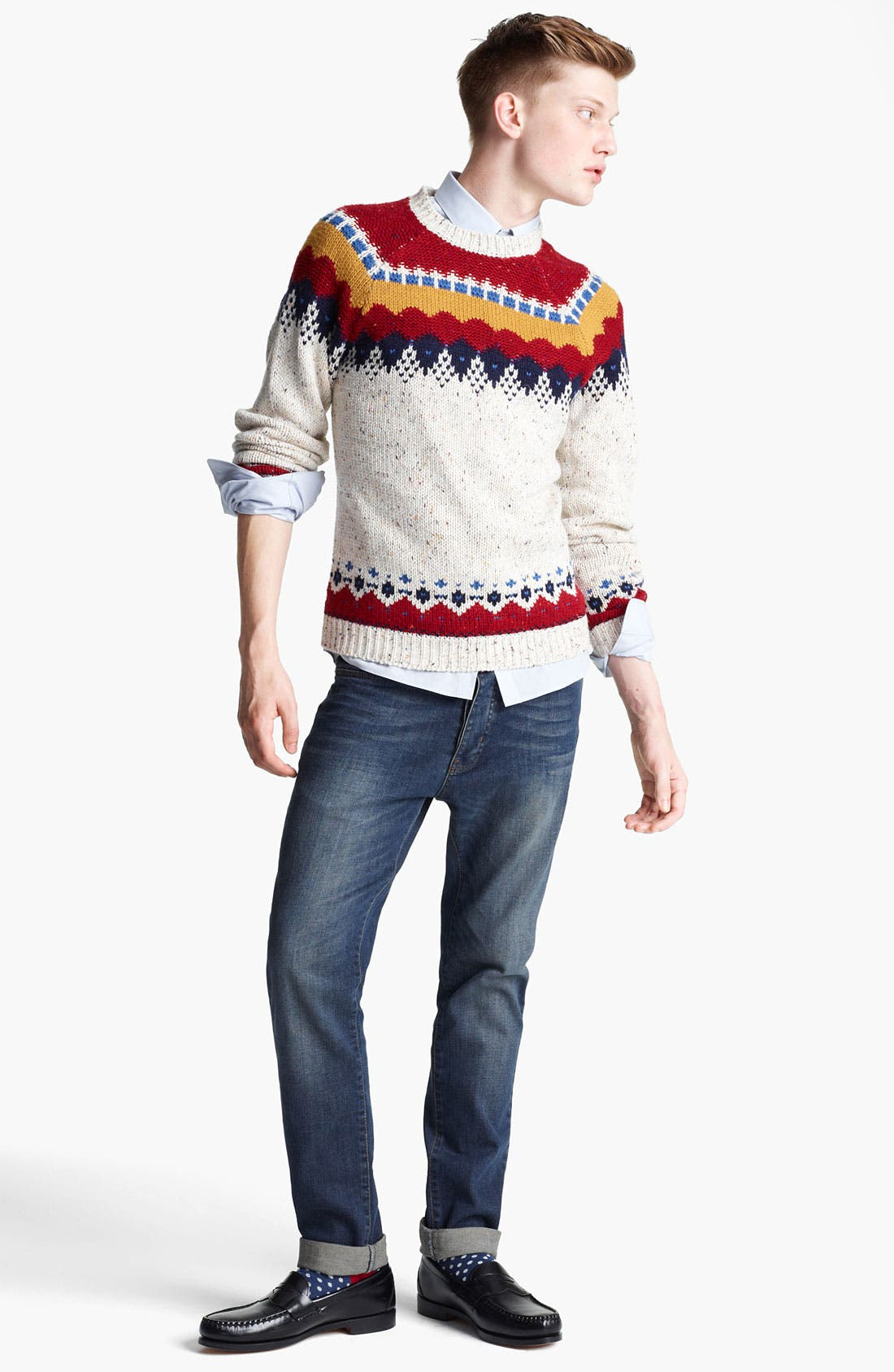 Alternate Image 4  - Topman Yoke Pattern Crewneck Sweater