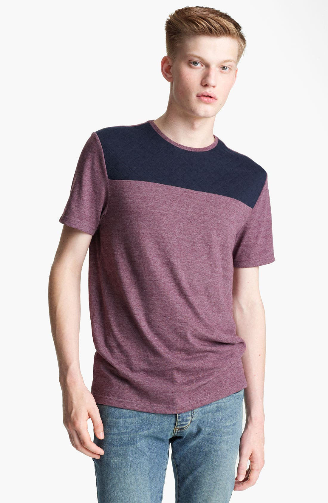 Alternate Image 1 Selected - Topman 'Cut & Sew' Quilted Yoke T-Shirt