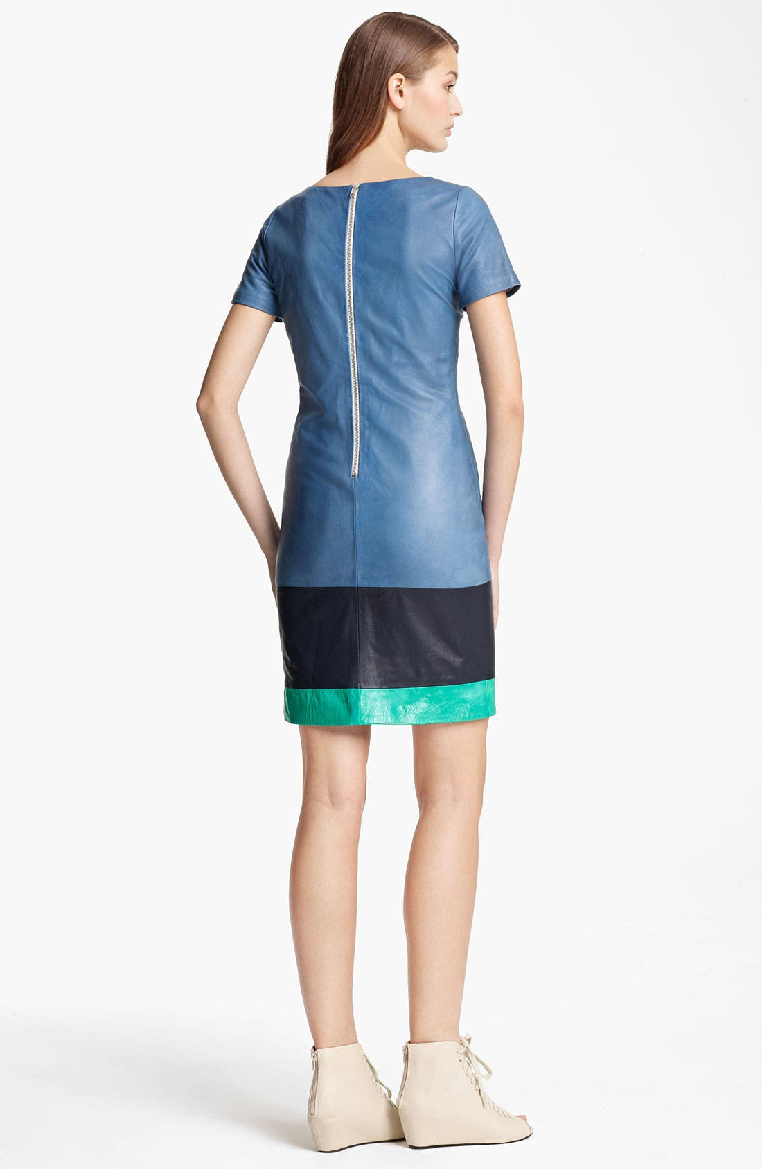 Alternate Image 2  - Band of Outsiders Colorblock Leather Dress