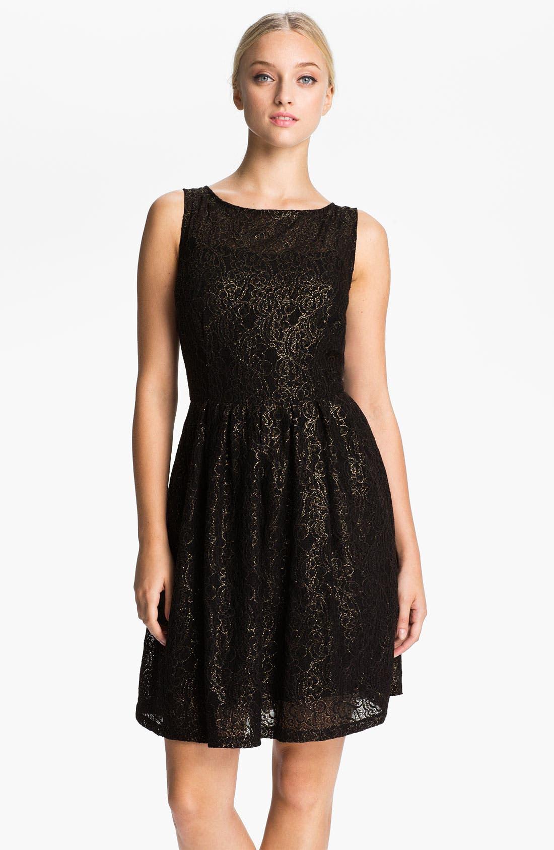 Main Image - BB Dakota Metallic Fit & Flare Dress