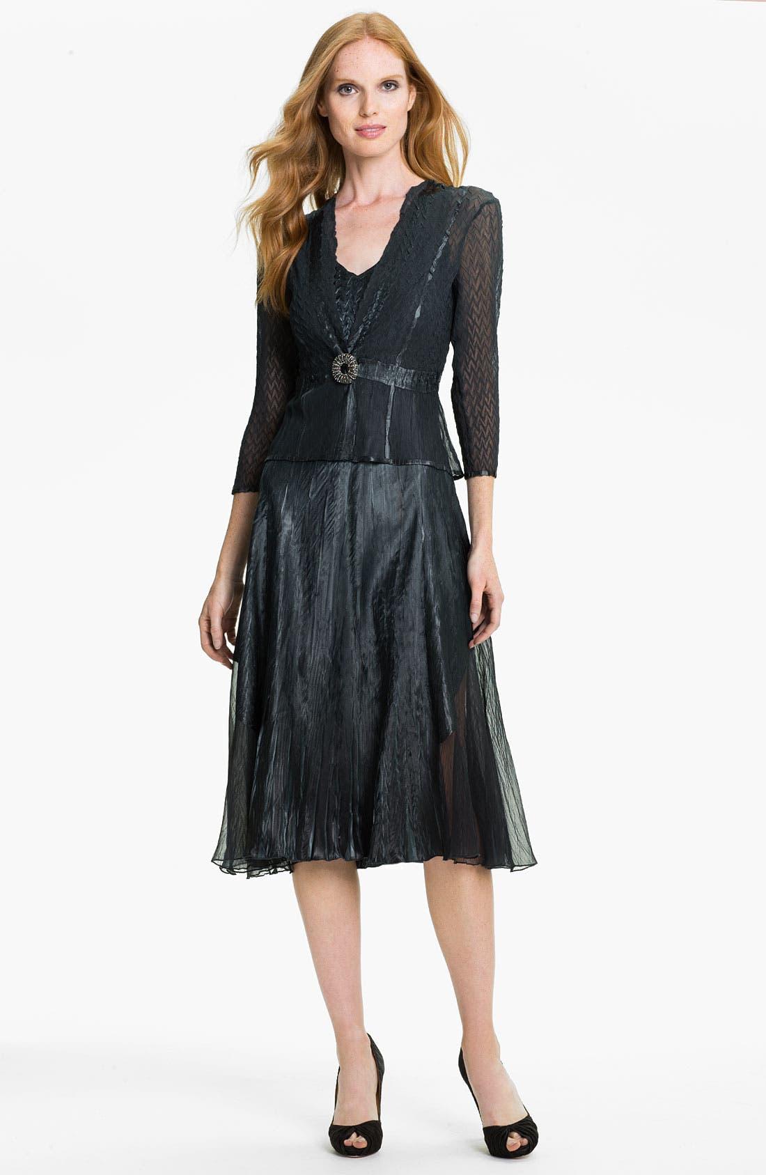 Main Image - Komarov V-Neck Textured Charmeuse Dress & Chiffon Jacket