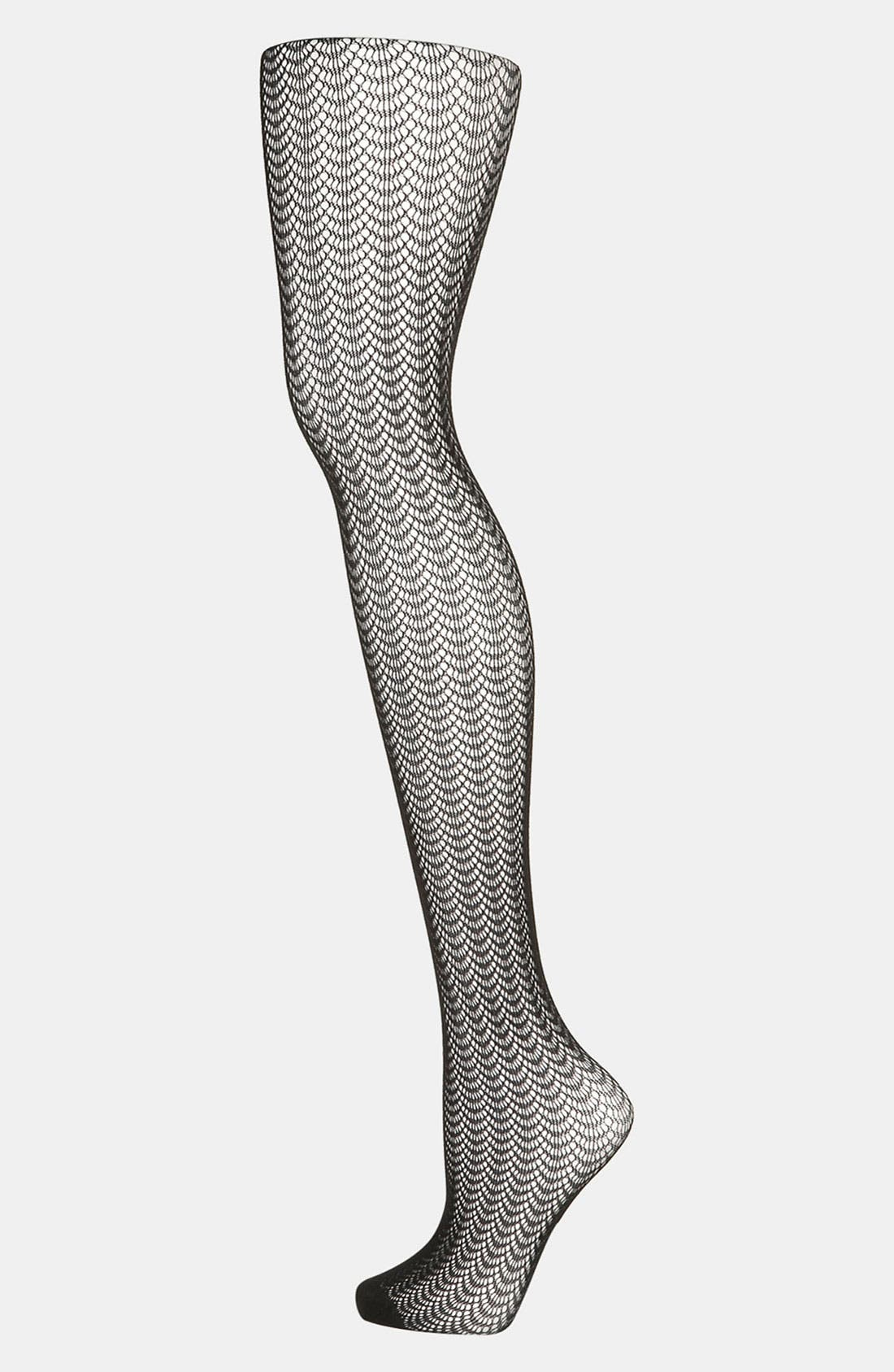 Alternate Image 1 Selected - Topshop Curved Pointelle Tights