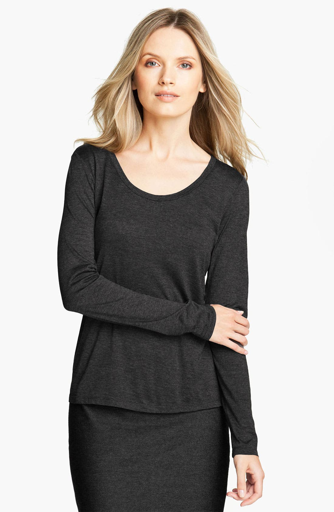 Main Image - Eileen Fisher Long Sleeve Jersey Tee (Online Exclusive)