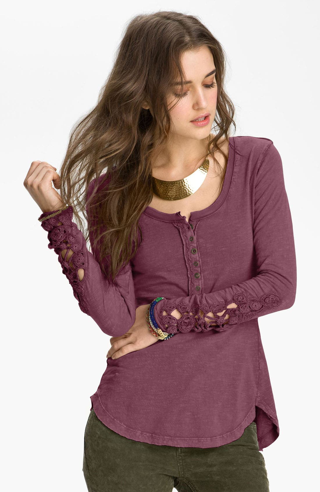 Alternate Image 1 Selected - Free People Crochet Cuff Henley