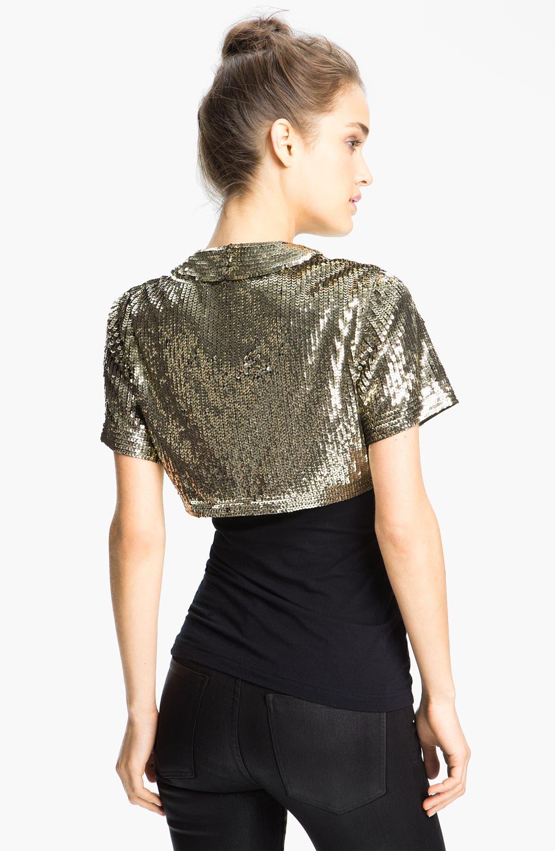 Alternate Image 2  - Eliza J Short Sleeve Sequin Bolero