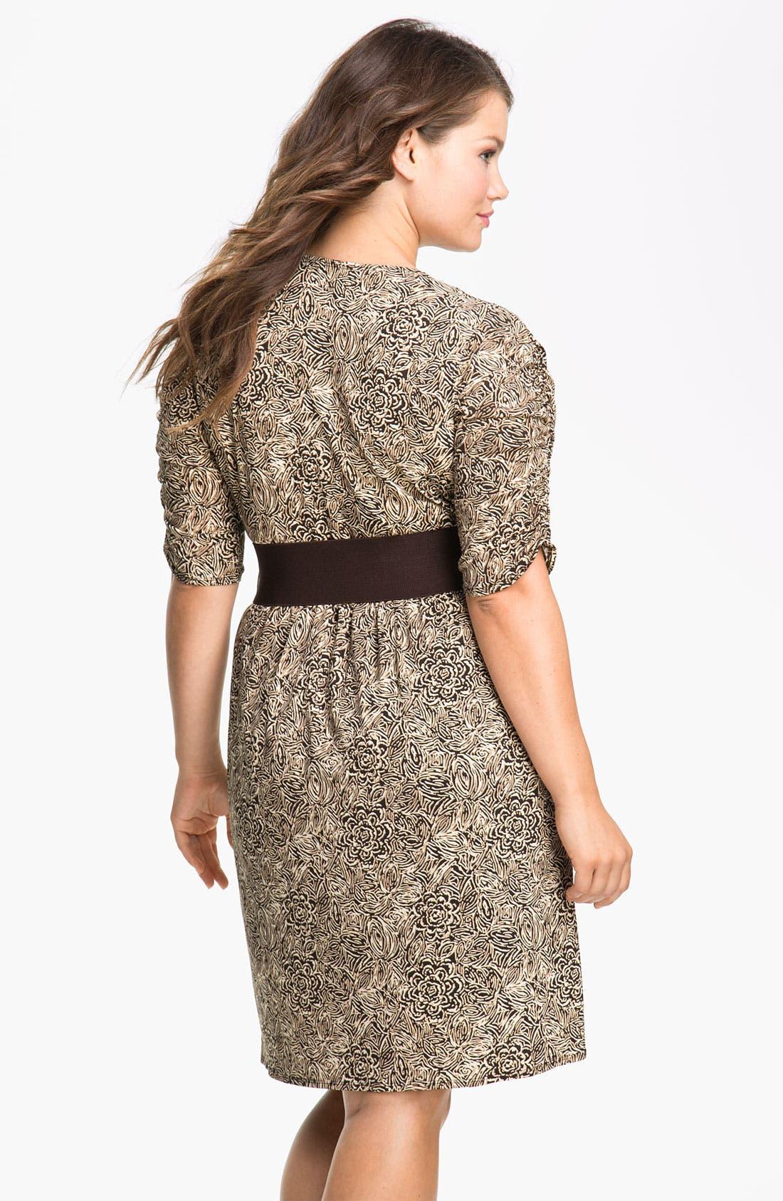 Alternate Image 2  - Eliza J Belted Faux Wrap Dress (Plus)