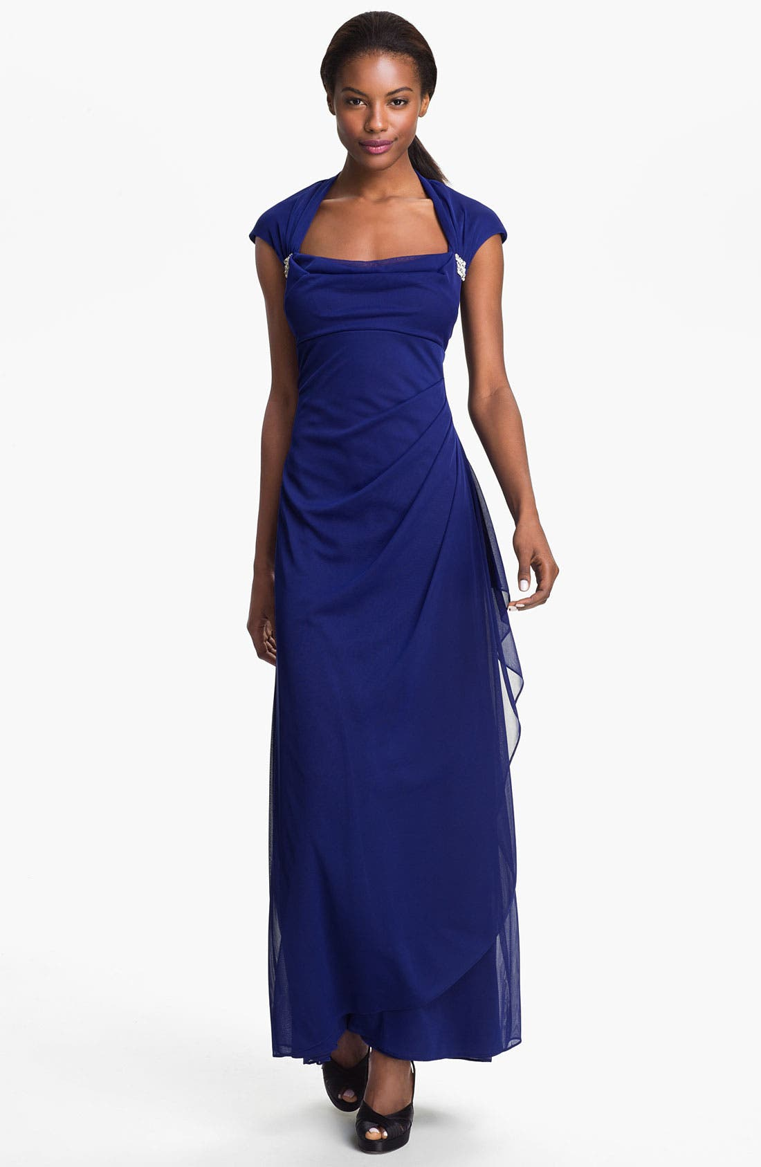 Main Image - Xscape Cap Sleeve Draped Mesh Gown