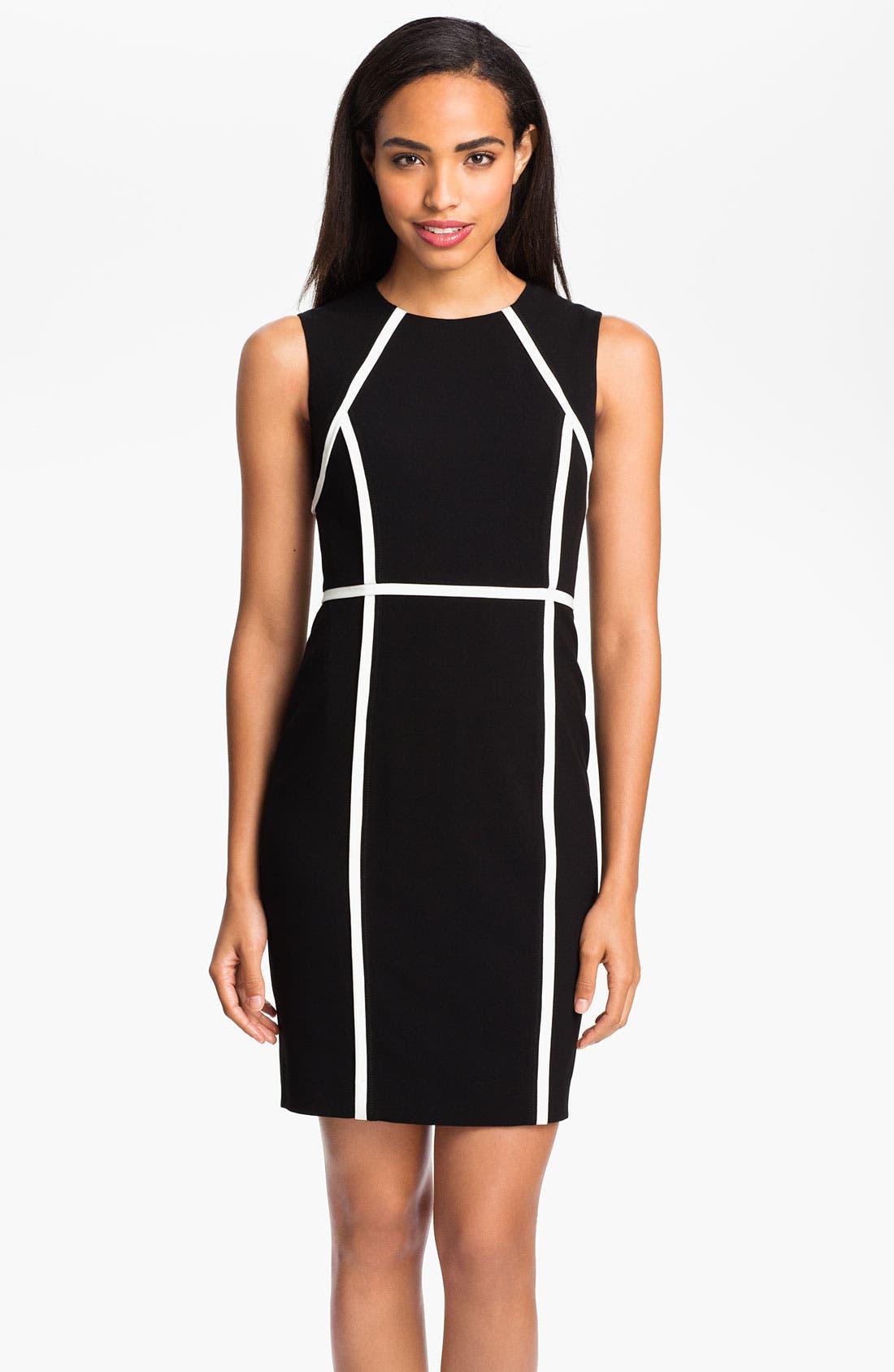 Main Image - Calvin Klein Contrast Trim Sheath Dress
