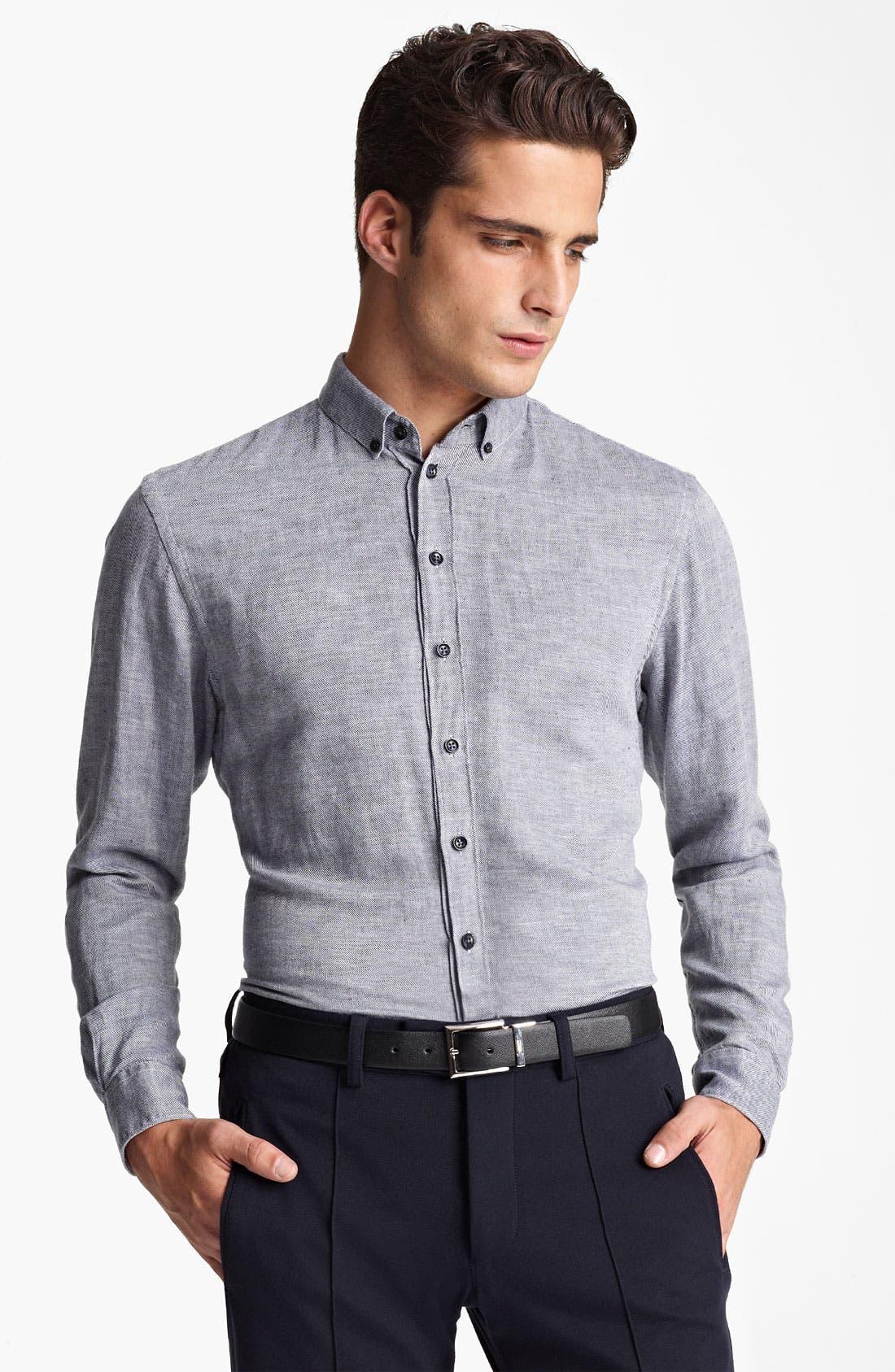 Alternate Image 1 Selected - Armani Collezioni Stripe Flax & Cotton Sport Shirt