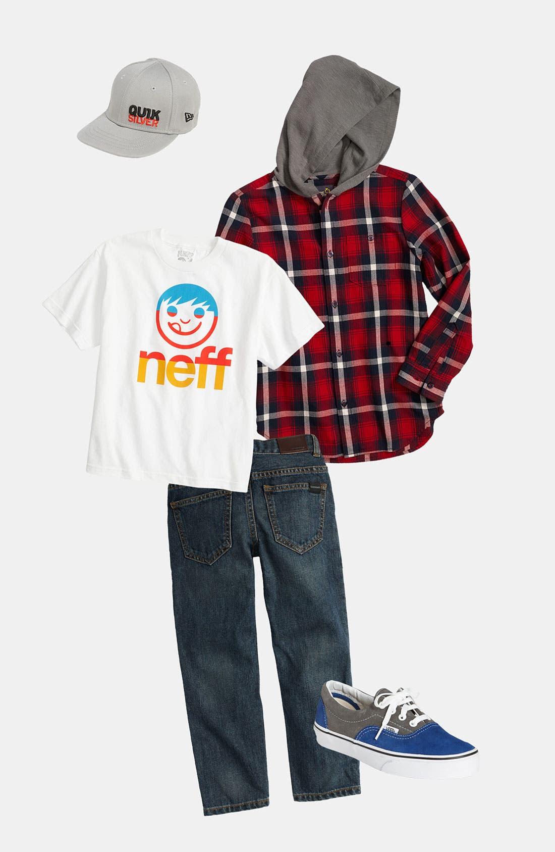 Alternate Image 1 Selected - Pure Stuff Woven Shirt & Neff T-Shirt (Big Boys)