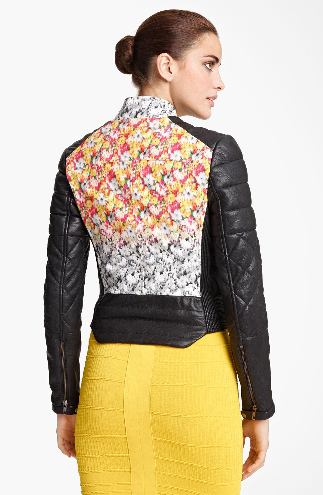Alternate Image 2  - Yigal Azrouël Leather & Floral Ikat Print Jacket